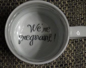 We're Pregnant Coffee Mug, Pregnancy Announcement, Father, pregnancy reveal , Bottom, hidden message, secret message, Funny, Cool, Coffe cup