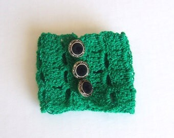 Kelly Green Hand Crocheted Cuff Bracelet with Three Button Closure - Saint Patrick's Day!  Wear The Green!