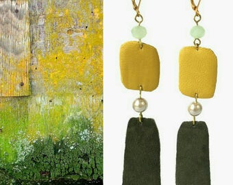 ooak Yellow and Green leather long dangle earrings with glass pearls and crystals