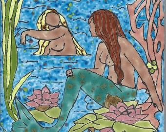 Mermaids 0031 Hand Painted Kiln Fired Decorative Ceramic Wall Art Tile 6 x 6