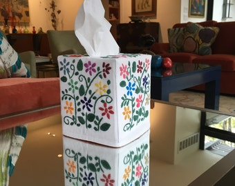 Tissue Box Cover - Hand Embroidered