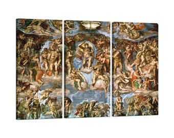Painting on canvas with Tris Frame Michelangelo Buonarroti the last judgement (detail)