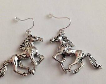 Horse Earrings, Horse Jewelry, Cowgirl Earrings, Cowgirl Jewelry, 3D Bronco, Mustang, Cowboy Earrings, Cowboy Jewelry, Southwest Jewelry,