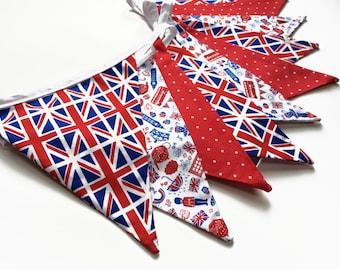Union Jack Home Decor, British Bunting, Union Jack Bunting, British Banner, Patriotic Banner, Red White and blue home decor, Nessa Foye