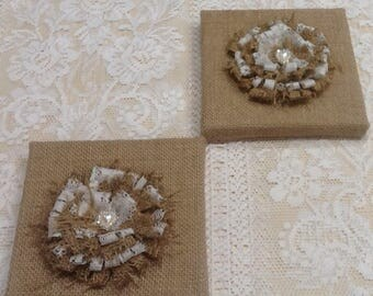 1Pr.Rustic Hessian Burlap Wall frames with handmade flowers