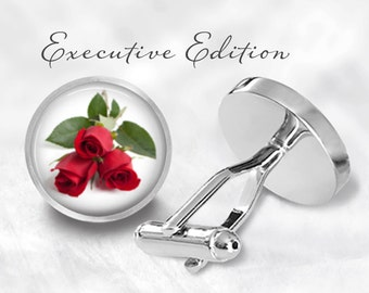Red Rose Cufflinks - Roses Cuff Links - Flower Cufflink - Valentine's Day Gift (Pair) Lifetime Guarantee (S0078)