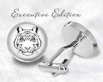 Tiger Cufflinks - Tiger Cuff Links - Bengal Tiger Cufflink - Big Cat Cuff Links (Pair) Lifetime Guarantee (S0836)
