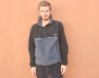 90s Orvis Fleece Jacket sz M ~ Vintage Color Block Coat ~ made in usa ~ Winter Weather Wear ~ Grey & Green ~ Hipster Preppy ~ Size MEDIUM