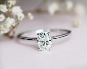 5X7mm  Moissanite Engagement Ring in 14K White Gold  Wedding Moissanite Bridal Moissanite Engagement Ring Diamond Ring