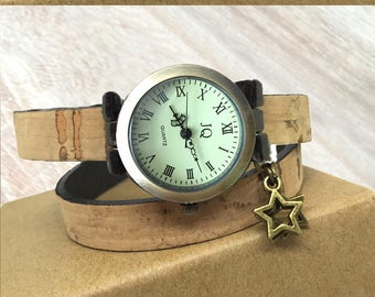 Personalized gift for her, cork leather bracelet watch, natural lover, original material country wedding