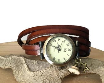 Woman watch bronze leather brown leather multi-turn wrist watch