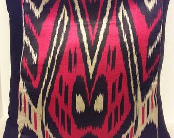 Handwoven Ikat silk pillow cover from Uzbekistan