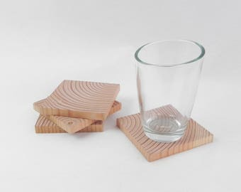 Coaster set, 4 coasters hand made with slices of wood, sanded and varnished