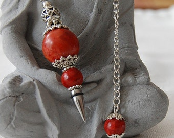 Gemstone pendant with coral