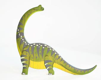 Wooden Diplodocus toy Dinosaur figurine Toys for boys Pre-historic animals Dinosaur models Learning toys for toddlers