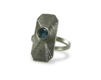 Sterling Silver Hand Engraved Statement Ring with Swarowski Faceted Stone/ Birthstone option