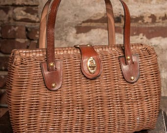 Vintage Brown Plastic Wicker Handbag with Leather Strap and Closure