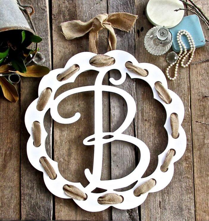 Monogram Door Hanger Monogram Door Wreath Wooden