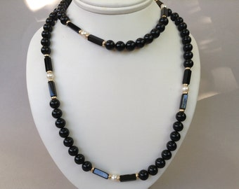 Pearl Gold Bead and Black Onyx Beaded Single Strand Necklace