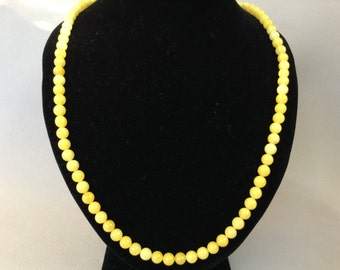 Yellow Jade Beaded Necklace