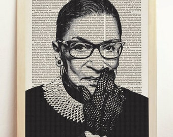 Supreme Court Justice Ruth Bader Ginsburg Poster Black White Illustration Engraving Print Upcycled Book Dictionary Gift