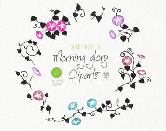 Watercolor clip art- flowers, Morning glory, plants, illustration, clipart, greetings,invitations, card making, printable, instant download