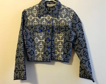Vintage Blue and White Jacquard cropped jacket