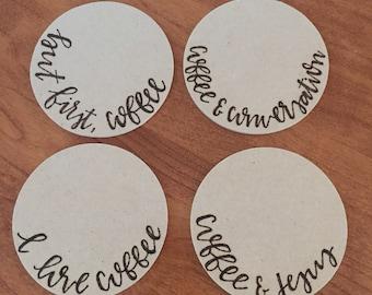 Wood Burned Coffee and Jesus Coasters, Pack of 4