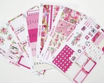Summer Floral Full Weekly Kit Planner Stickers for Erin Condren Life Planner and more (K37)