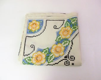 Hand embroidered tablecloth, large, square linen table cloth, strong colours, all over embroidery, incomplete design