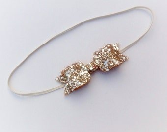 Baby / Toddler Skinny Headband with Glitter Bow - choice of colours