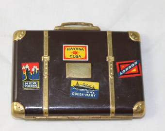 Makeup Compact Vintage Suitcase Art Deco Cosmetic Tool Vanity Mirror