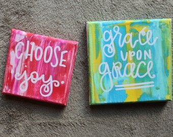 Marble Canvas Choose Joy and Grace By Grace Canvas Quote Art Painting Calligraphy