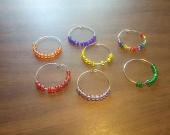 wine or beer charms in rainbow colors set of 7