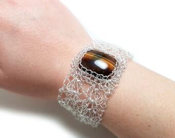 FREE SHIPPING Wire crochet bracelet with genuine tiger' eye