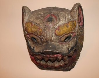 Antique Thailand Wooden Dragon Mask