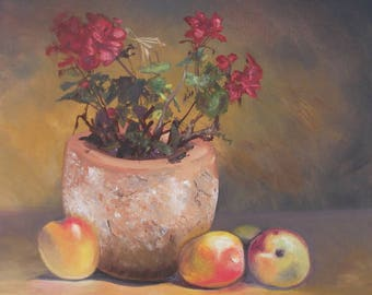 Still life with geraniums.   red, orange,  original art, hand painted, oils, signed by artist