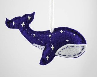 Hand Made Whale Constellation Ornament, Christmas Tree Ornament, Space Ornament, Whale Ornament, galaxy Ornament, blue whale, Felt Ornaments