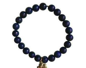 Mala Lapis Lazuli Bracelet with Brass Anatomical Heart Charm - 8mm