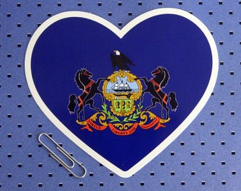 Pennsylvania State Flag Heart Sticker