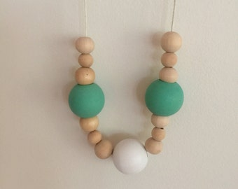Wooden bead necklace //turquoise white and natural beads // hand painted wooden bead necklace