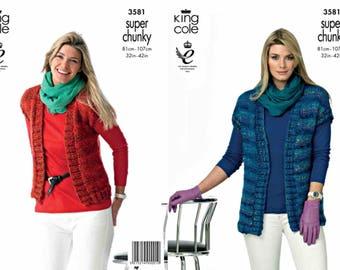 "King Cole Knitting Pattern 3581~Easy Knit Waistcoats~Super Chunky~32-42"""