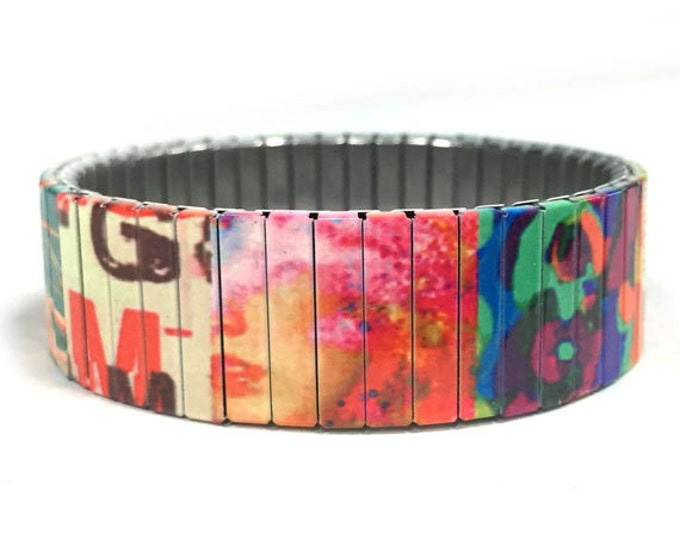 Patchwork bracelet, Patchwork Quilt, Stretch Bracelet, Repurpose Watch Band, Sublimation, Stainless Steel, Wrist Band, gift for friends