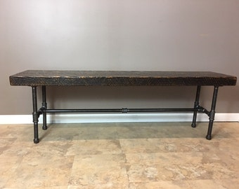 Salvaged Reclaimed Urban Bench W/ Industrial Pipe Legs | Made From Barn wood | Fast Shipping
