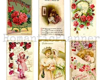 Digital Download - {Beauty in my heart} 1920s Art beauty Postcards set, vintage postcard, illustration, valentines day, flowers, romantic