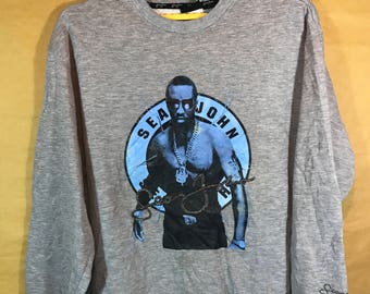 SEAN JOHN Heather Gray Sweatshirt Large Size