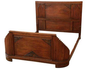 1930s French Art Deco Carved and Inlaid Walnut Full Size Bed Frame
