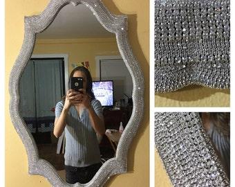 Rhinestone Wall Mirror mirror / wall mirror / handmade mirror / large mirror /