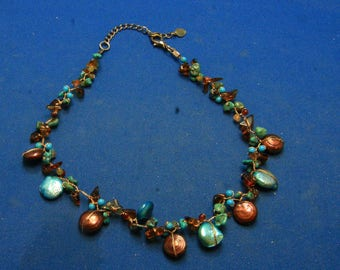 Vintage Dyed Freshwater Keshi Coin Pearl, Turquoise And Amber Beaded Choker Necklace