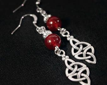 Earrings silver metal American ties with red glass beads and Celtic knot charm